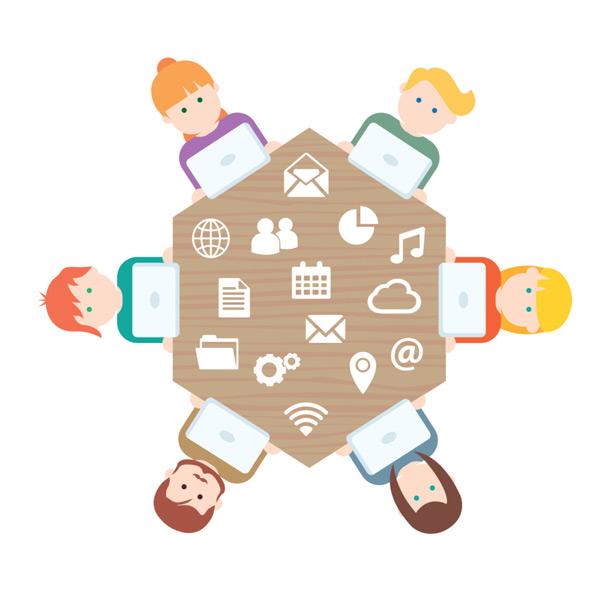 商务团队人物合作图标矢量图下载