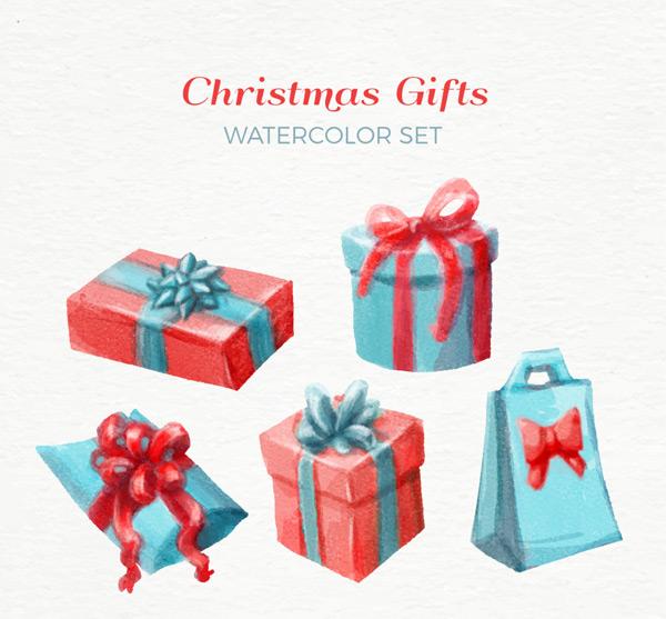 手绘圣诞礼品盒_素材中国sccnn.com