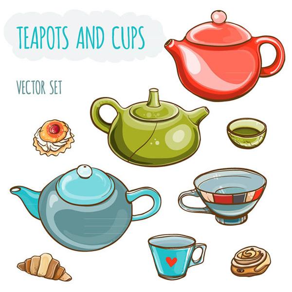 彩色茶壶与茶杯