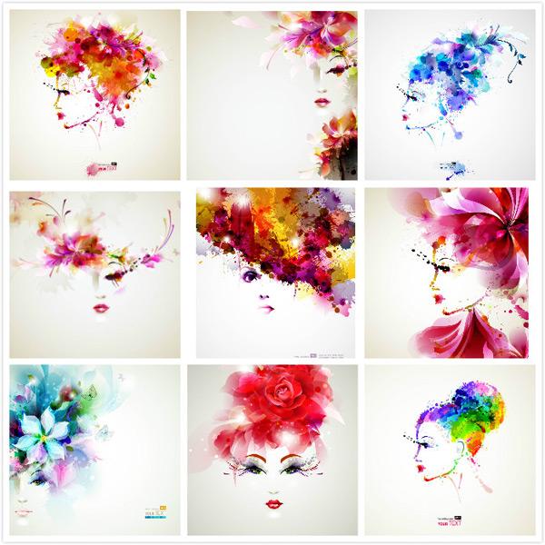 抽象花瓣人物头像