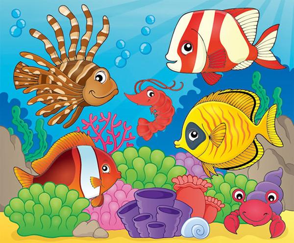 卡通海底世界矢量图下载,珊瑚,小丑鱼,虾,寄居蟹,海洋,海洋动物,海底