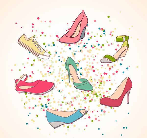 手绘彩色女鞋设计矢量图下载,运动鞋,凉鞋,高跟鞋,瓢鞋,帆布鞋,鞋子