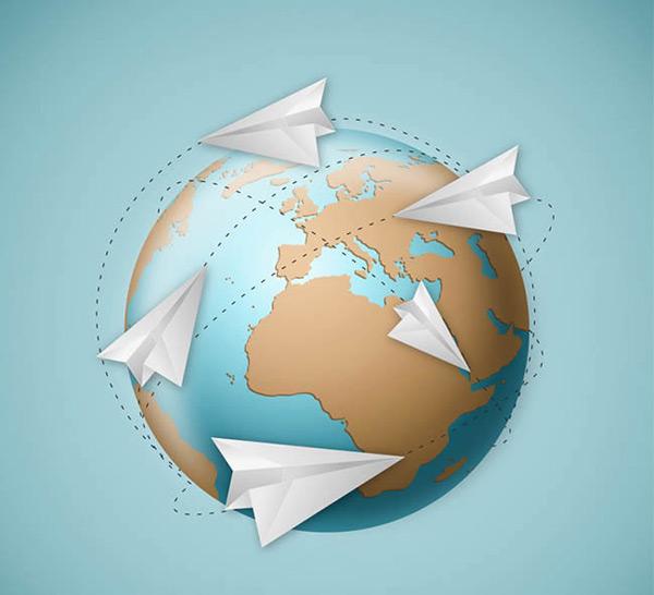 地球与纸飞机矢量