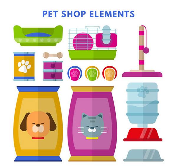 扁平宠物动物商店元素矢量图下载,扁平,宠物,动物,商店,宠物元素,矢