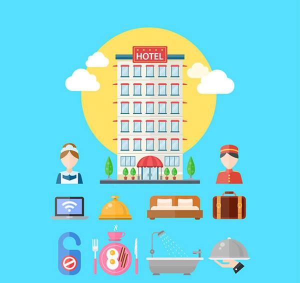 电脑,餐饮,床,云朵,行李箱,门牌,煎鸡蛋,早餐,浴缸,扁平化,图标,矢量