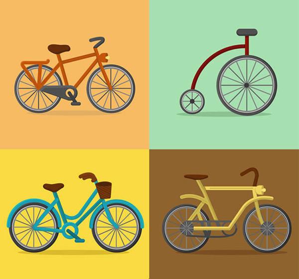 彩色自行车设计矢量图下载