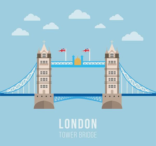 伦敦塔桥矢量图下载