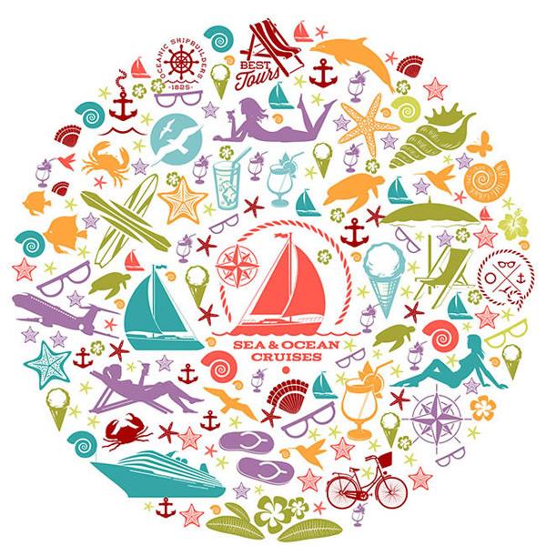 关键词: 休闲度假元素剪影花纹图标矢量图下载,鱼,休闲,度假元素,帆船