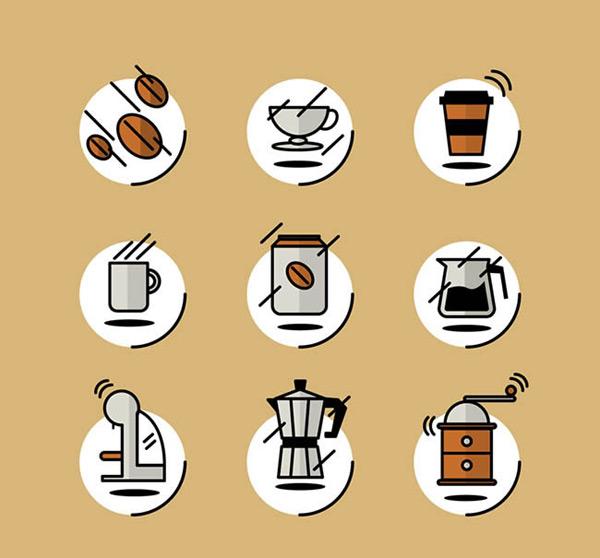 咖啡豆,咖啡,外卖咖啡,杯子,咖啡壶,咖啡机,手摇咖啡机,矢量图,ai格