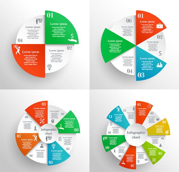 矢量商务金融所需点数: 0 点 关键词: 成套彩色饼状图图表矢量素材