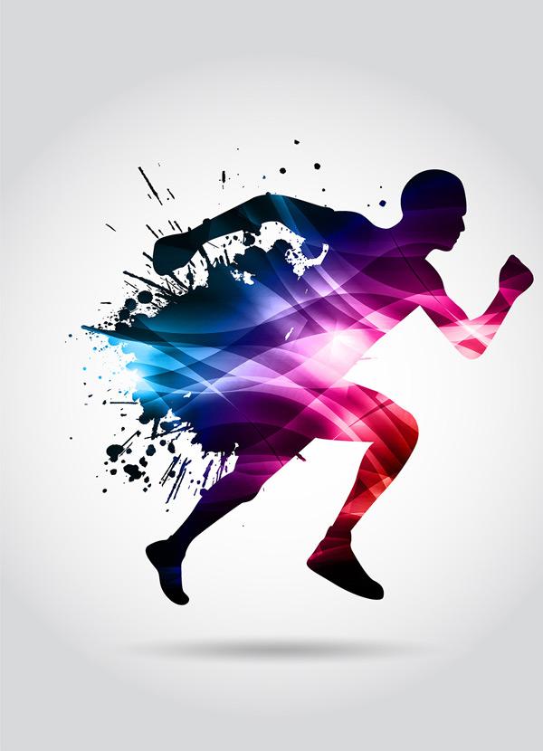 矢量体育运动所需点数: 0 点 关键词: 炫彩运动的人物矢量素材,奔跑