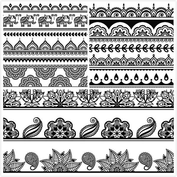 简洁,简约,黑白复古,花朵,边框,花纹,异域动物,大象造型,高清图片,ai