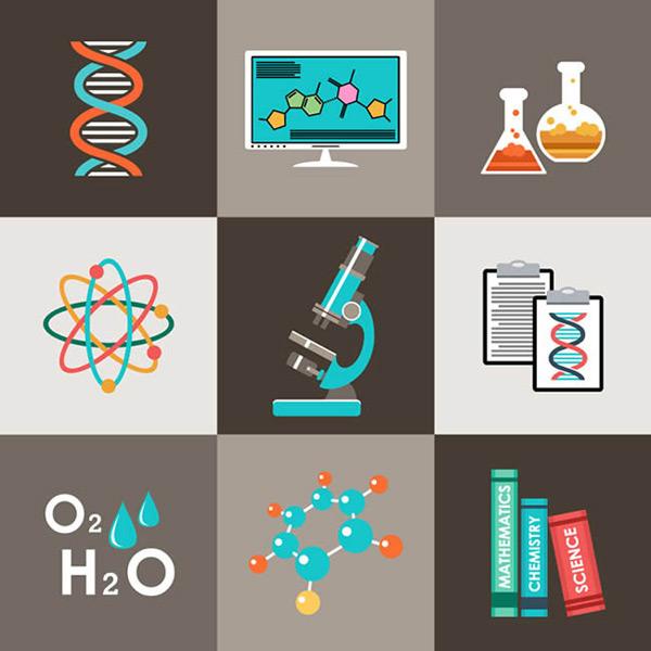 科学实验元素图标矢量图下载