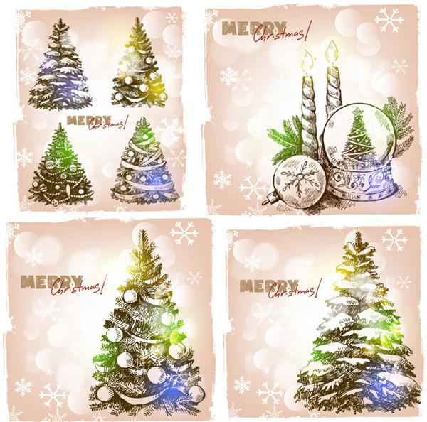 手绘圣诞元素矢量素材,梦幻,手绘,手稿,圣诞节,元素,雪花,松树,圣诞