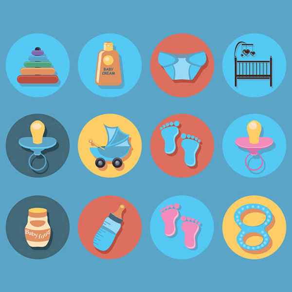 脚印,婴儿护肤乳,纸尿裤,奶瓶,婴儿食品,婴儿用品,图标,圆形,矢量图,e