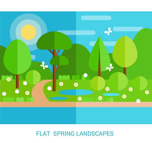 扁平化春季风景矢量图下载,蝴蝶,春季,树木,花,草,河流,风景,扁平化
