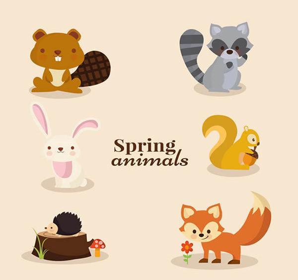 素材分类: 矢量野生动物所需点数: 0 点 关键词: 卡通春季动物矢量图