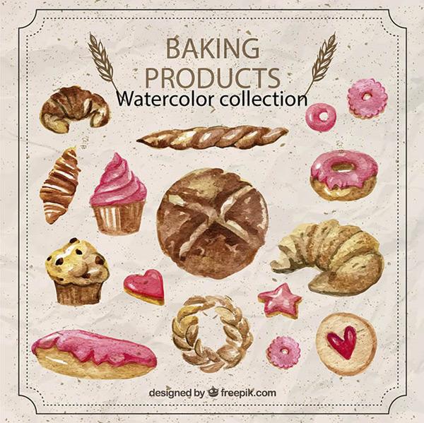 水彩绘烘培食物矢量图下载,牛角面包,甜甜圈,面包,纸杯蛋糕,食物,水彩