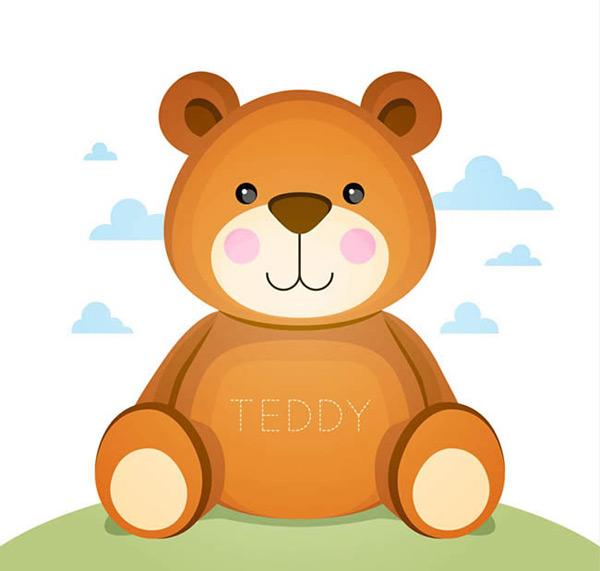 矢量卡通动物所需点数: 0 点 关键词: 棕色泰迪熊矢量素材,棕熊,熊