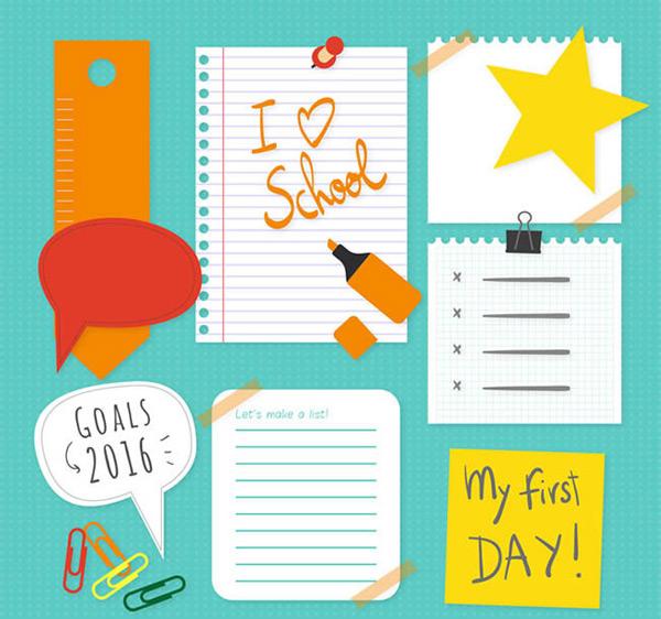 创意纸张设计矢量图下载,胶布,曲别针,贴纸,纸张,留言,笔,返校,矢量