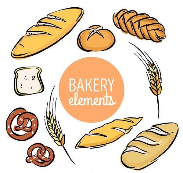 彩绘手绘面包设计矢量图下载