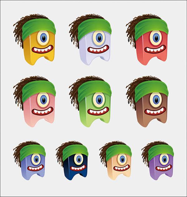 矢量各式图标所需点数: 0 点 关键词: 卡通搞怪生物表情包图标矢量图图片