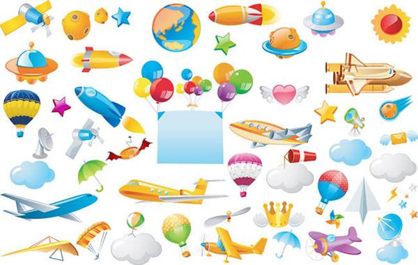 飞行器,宇宙飞船,飞机,云朵,星球,气球,火箭,卫星,矢量图,ai格式 下载