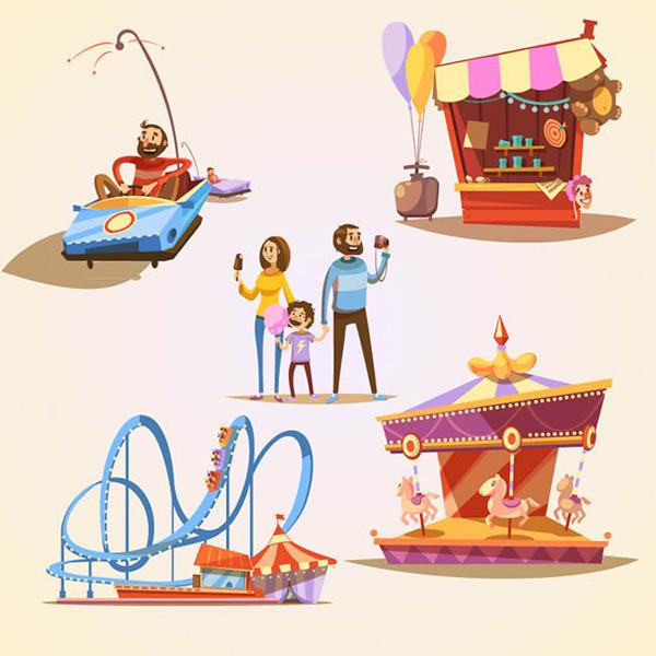 游乐园元素矢量图下载,碰碰车,玩偶屋,旋转木马,过山车,人物,孩子,男子,女子,游乐园,气球,棉花糖,矢量图,eps格式