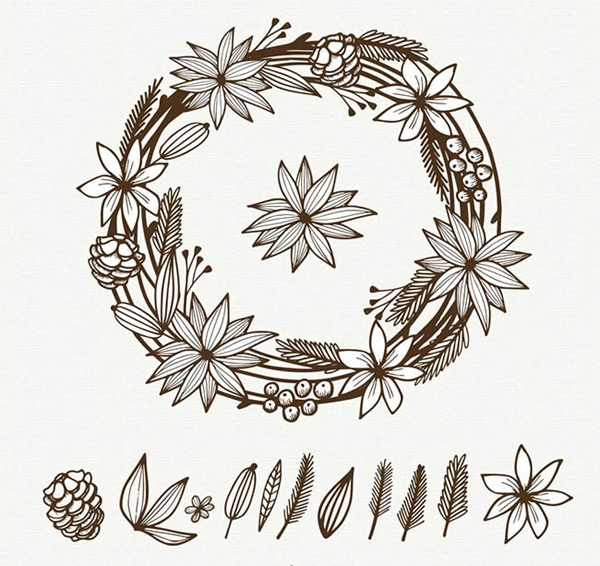 0 点 关键词: 手绘圣诞节花环矢量图下载,手绘,圣诞节,花环,树叶