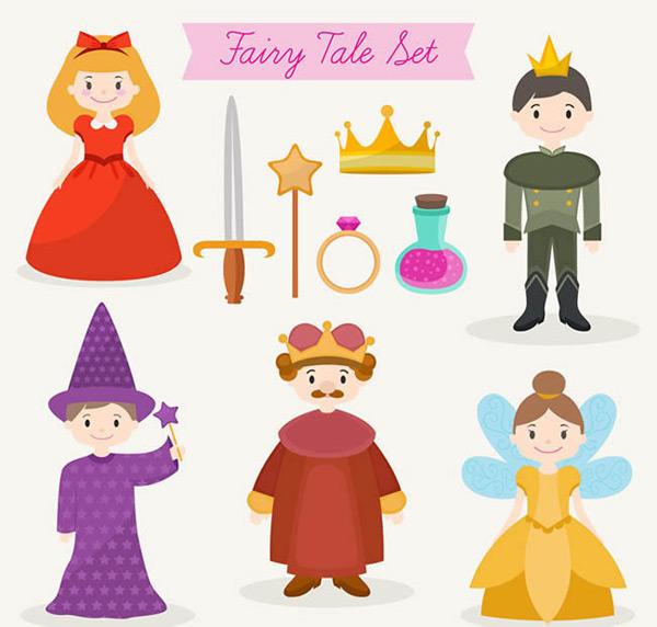 素材分类: 矢量卡通角色所需点数: 0 点 关键词: 童话元素及人物矢量