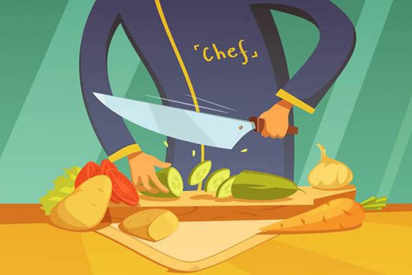 切菜的男厨师矢量图下载
