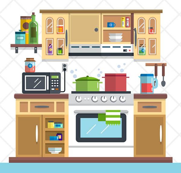 整洁家庭厨房设计矢量图下载