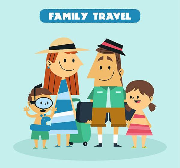 父亲,母亲,孩子,男孩,女孩,夏季,行李,度假,家庭,旅行,游泳圈,人物图片