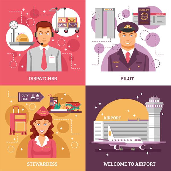 卡通机场职业人物