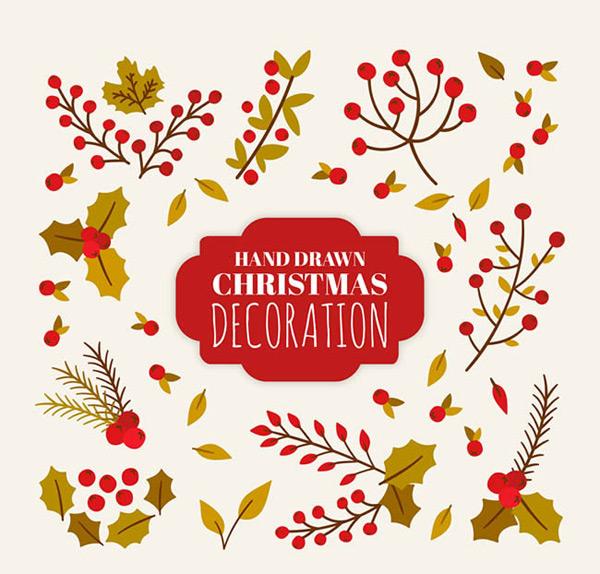 枸骨,冬青,槲寄生,植物,手绘,叶子,圣诞节,装饰,矢量图,ai格式 下载