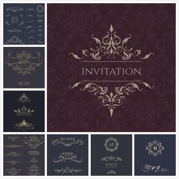 封面,布纹,皇冠,分隔线,精致边框,华丽欧式花纹边框,徽章,矢量边框