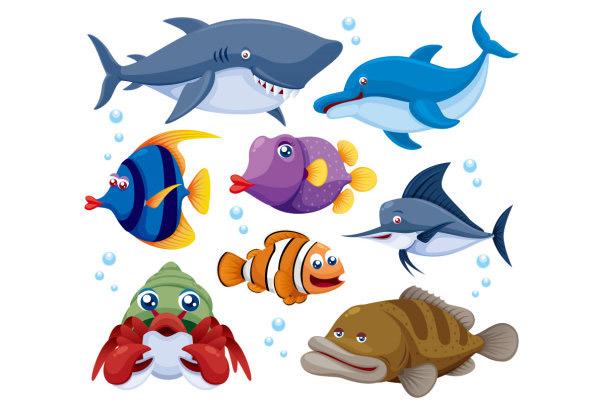 海洋动物_矢量卡通动物
