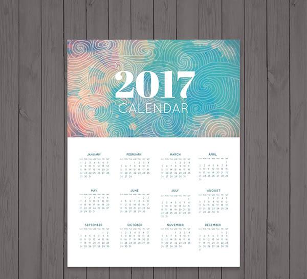 水彩2017日历