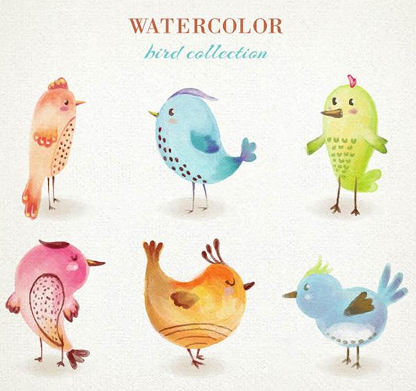 素材分类: 矢量卡通动物所需点数: 0 点 关键词: 水彩绘鸟类设计矢量
