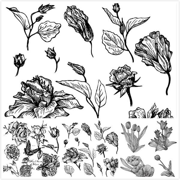 线描植物矢量素材,手绘花朵,线描花朵,郁金香花,手绘郁金香花,单色线描花,手绘花枝,矢量插画,花朵矢量图形,手绘玫瑰花朵,手绘蝴蝶,手绘花枝,木刻风格花朵,单色花朵,木刻风格玫瑰花,手绘叶片,木刻风格叶片,AI
