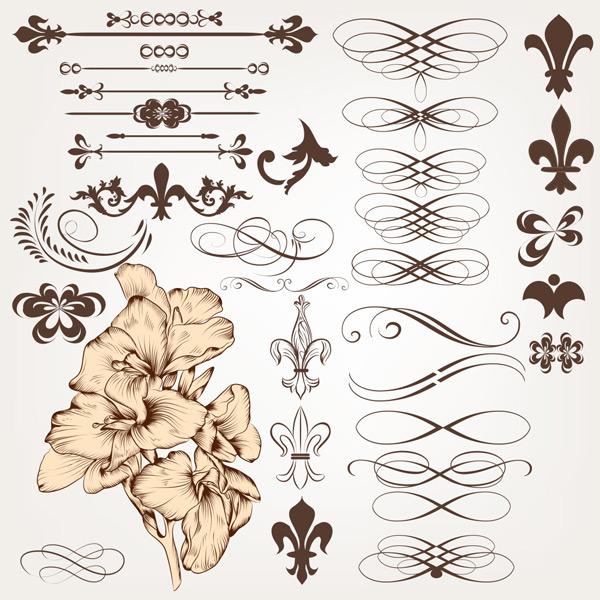 欧式线条花纹,花纹矢量,角纹,分割纹,卷曲纹,花样,装饰纹样,卷曲纹样