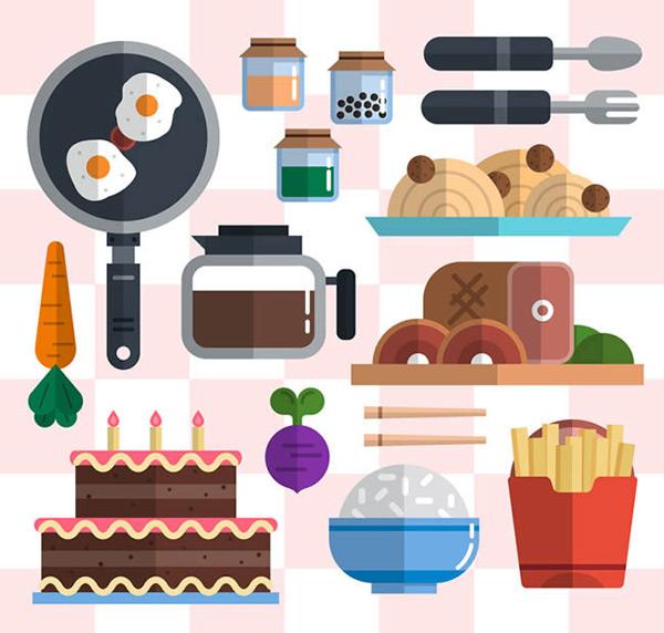 0 点 关键词: 扁平化食物和厨具矢量图下载,平底锅,煎鸡蛋,调料瓶,餐