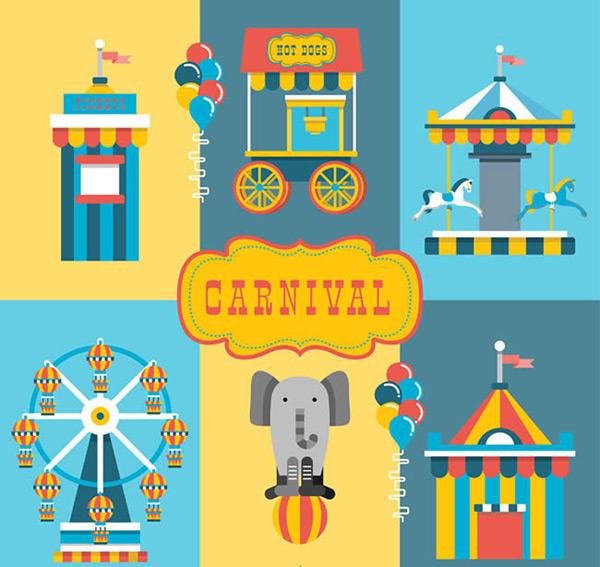 彩色游乐园元素矢量图下载,售票处,快餐车,旋转木马,摩天轮,大象,气球束,狂欢节,嘉年华,游乐园,马戏团,矢量图,ai格式