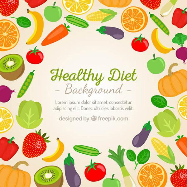 矢量背景所需点数: 0 点 关键词: 彩色果蔬健康饮食背景矢量图下载