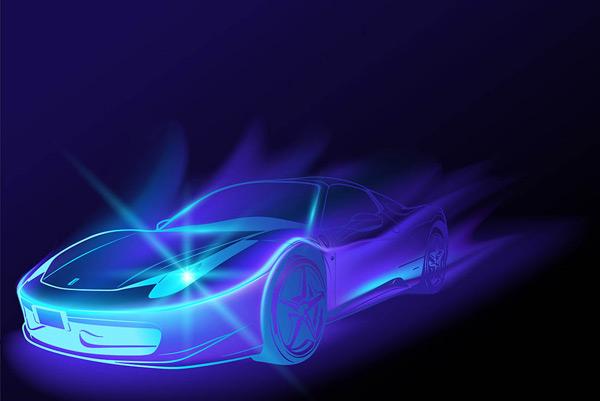 点 关键词: 幻影飞驰跑车矢量素材,蓝色背景,游戏风格,幻影,魔界,汽车