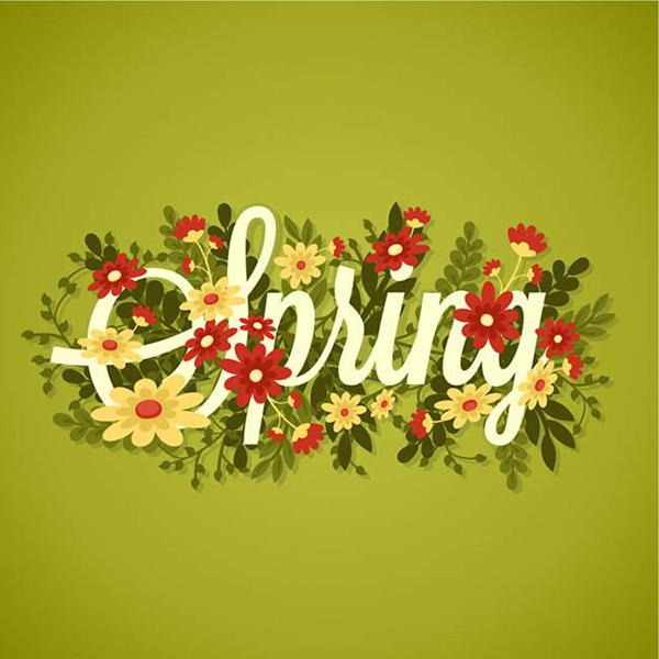 春季花卉艺术字