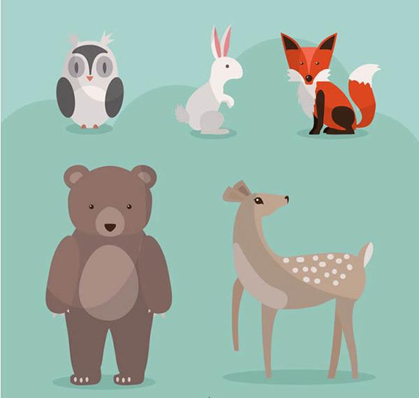 0 点 关键词: 卡通森林动物矢量图下载,猫头鹰,兔子,狐狸,熊,梅花鹿