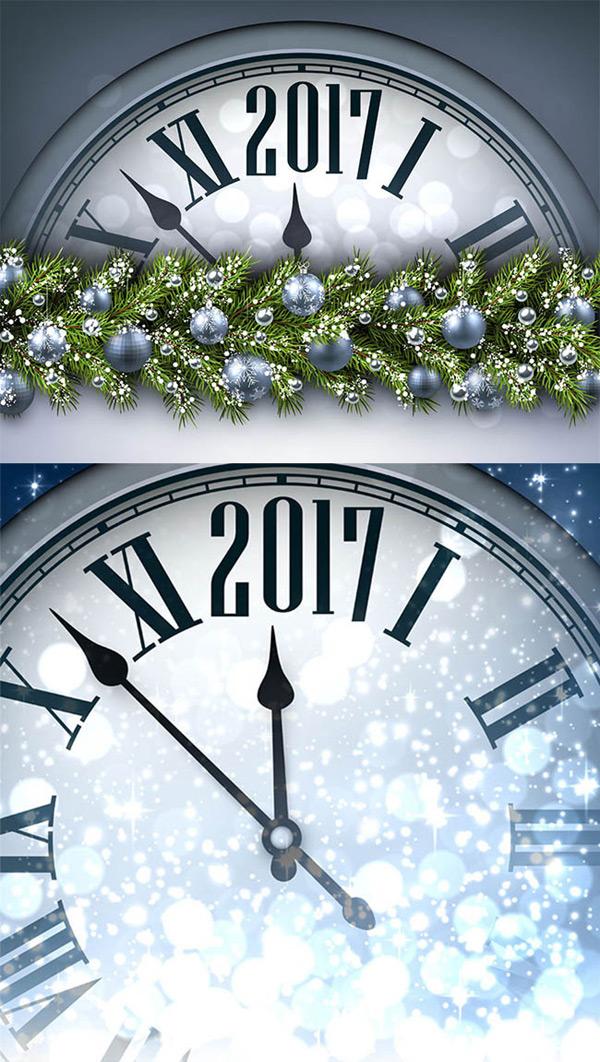 时钟和银色圣诞球