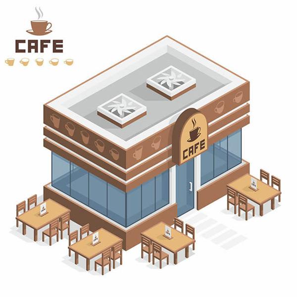 卡通咖啡店矢量图