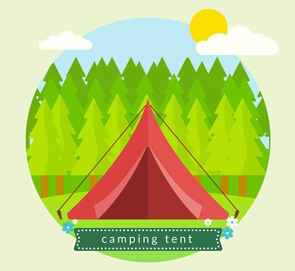 红色帐篷矢量